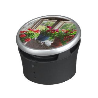 Three Pots of Geraniums on Windowsill Speaker