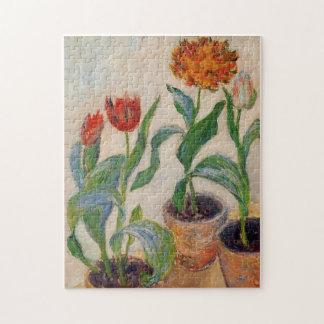Three Pots of Tulips Monet Fine Art Jigsaw Puzzle