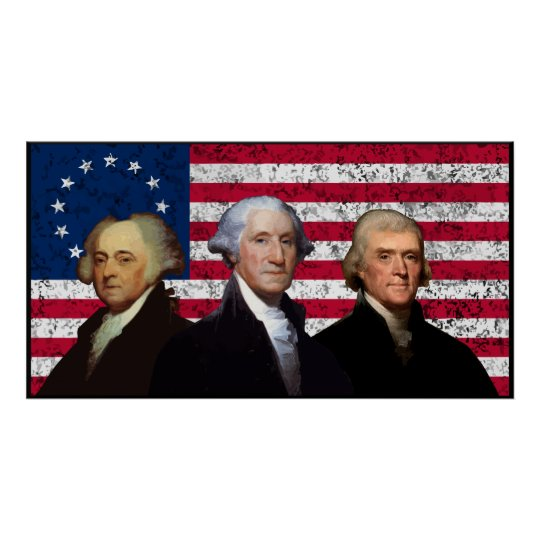 Three Presidents and The U.S. Flag -- Border Poster