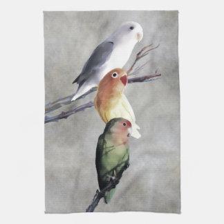 Three Pretty Lovebirds Towel
