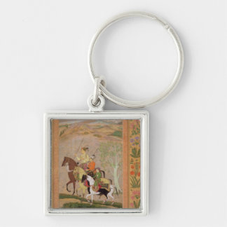 Three Princes Going Hunting, c.1635 (gouache on pa Keychain