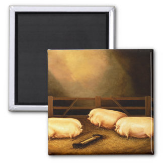 Three Prize Pigs outside a Sty Magnet