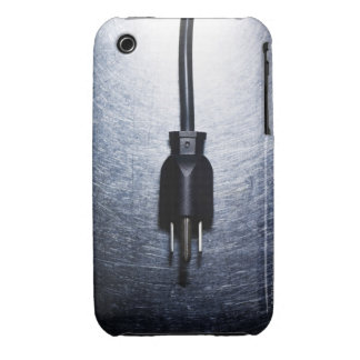 Three-pronged electrical plug on stainless iPhone 3 cover