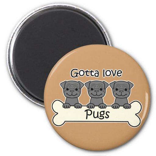 Three Pugs 2 Inch Round Magnet