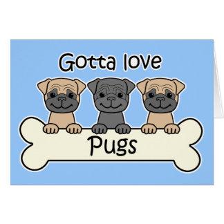 Three Pugs Greeting Card