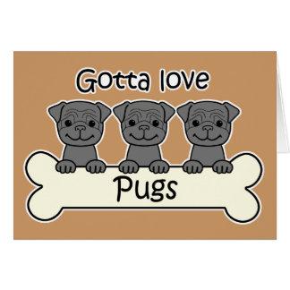 Three Pugs Stationery Note Card