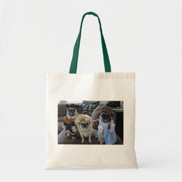 Halloween Themed Three Pugs dressed for Halloween Tote Bag