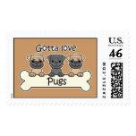Three Pugs Postage Stamp