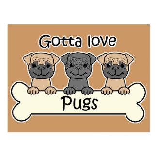Three Pugs Postcard