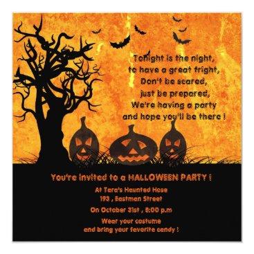 Halloween Themed Three Pumpkins - halloween party invitations