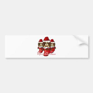 Three Puppies in Stockings Bumper Sticker