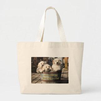 Three Pups in a Tub Canvas Bag