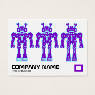 Three Purple and Blue Robots Business Card