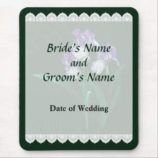 Three Purple and White Irises Wedding Favors Mouse Pad