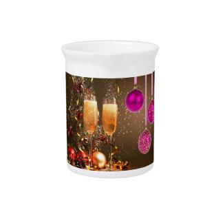 Three Purple Balls with Champagne Beverage Pitchers