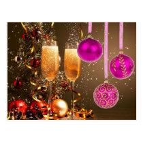 Three Purple Balls with Champagne Postcard