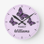 Three Purple Butterflies With Family Name Round Wall Clock