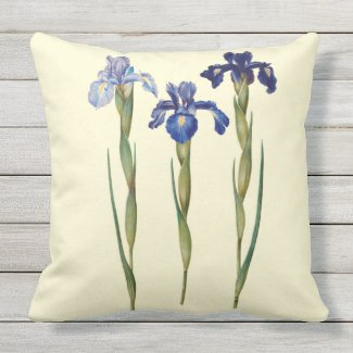 Three Purple Iris Outdoor Pillow 20