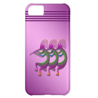 Three Purple Kokopellis with Green Cover For iPhone 5C