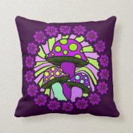 Three Purple Mushrooms Pillow