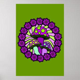 Three Purple Mushrooms Poster