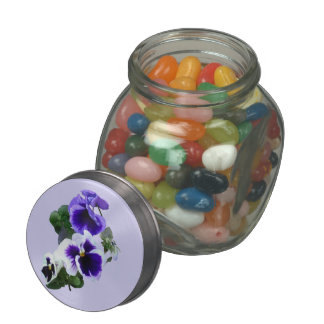 Three Purple Pansies in a Row Jelly Belly Candy Jar