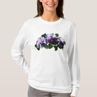 Three Purple Pansies Ladies T-Shirt