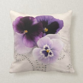Three purple pansies pillow