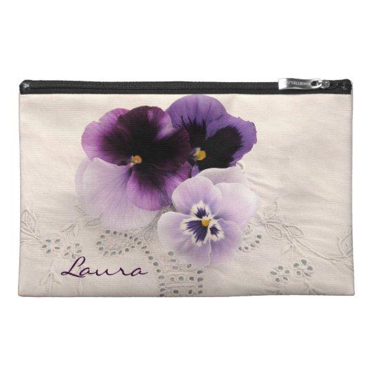 Three purple pansies travel accessory bag