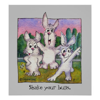 Three Rabbit Sunrise Cartoon Poster