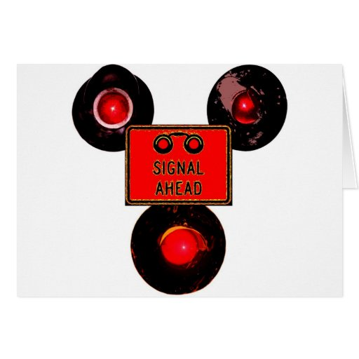 Three Railroad Signals Greeting Card
