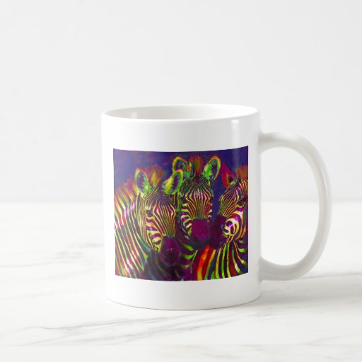three rainbow zebras coffee mug