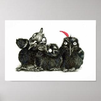 Three Raven - One hablas Feather Póster