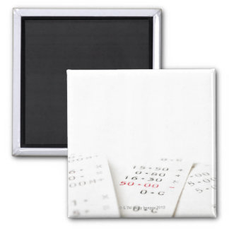 Three receipts on white background. There are 2 Inch Square Magnet