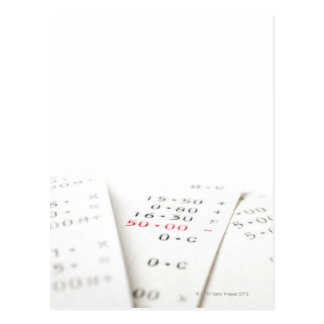 Three receipts on white background. There are Postcard