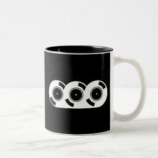 Three Records Two-Tone Coffee Mug