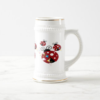 Three red and black ladybug with stars beer stein
