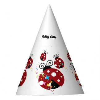 Three red and black ladybug with stars party hat