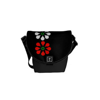 Three Red and One White Flower Mini Messenger Bag