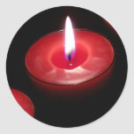 Three Red Candles Round Stickers