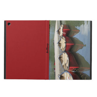 Three Red Canoes on Lake, Personalized Folio Case, iPad Air Case