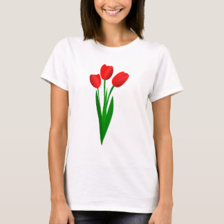 Three Red Cartoon Tulips T-Shirt