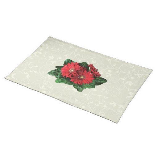 Three Red Gerbera Daisies Cloth Place Mat