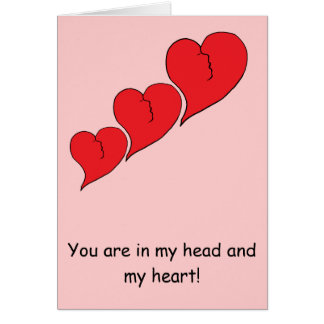 three red hearts with head side profile card