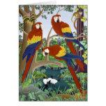 Three Red Macaws Greeting Card