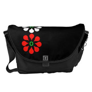 Three Red One White Flower Large Messenger Bag
