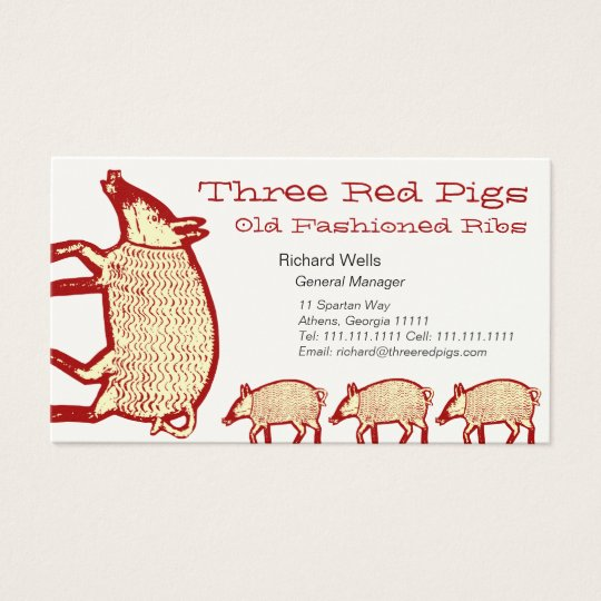 Three Red Pigs Business Card for Farm, Restaurant
