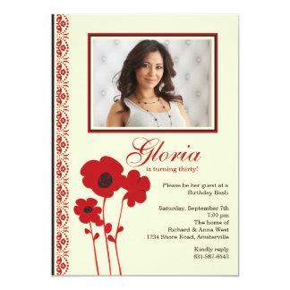 Three Red Poppies Photo Invitation
