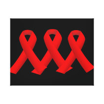 Three Red Ribbons Wrapped Canvas Art