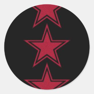 Three Red Stars Classic Round Sticker
